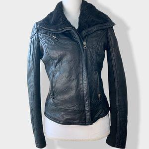 🖤 Aqua | Leather Faux Fur Lined Moto Jacket